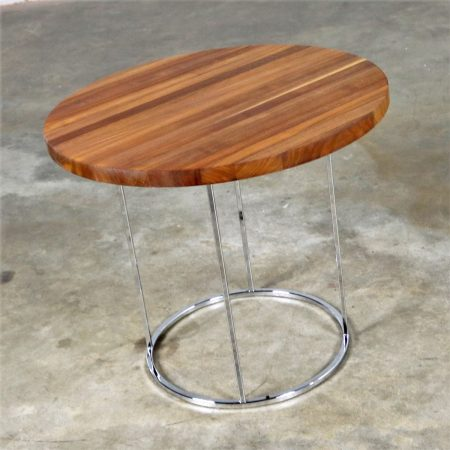 Modern Chrome and Walnut Round Side Table Attributed to Milo Baughman