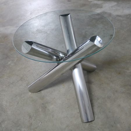 Tubular Stainless-Steel Jacks Tripod End Table Round Glass Top Style of Milo Baughman