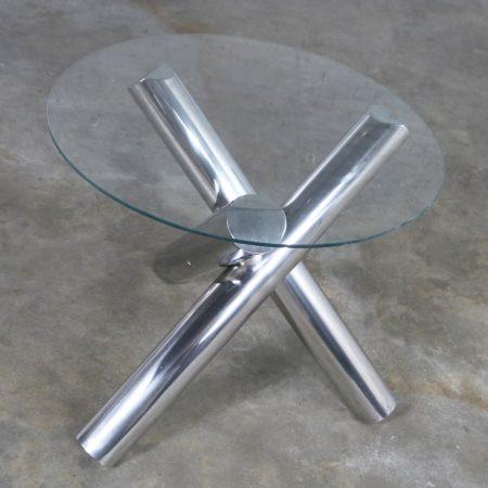 Tubular Stainless-Steel Jacks Tripod End Table Round Glass Top Style of Milo Baughman