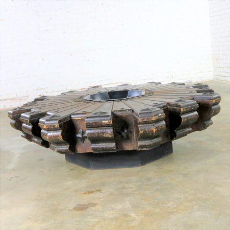 Vintage Spanish Revival Style Rustic Octagon Pinwheel Large Coffee Table Artes De Mexico