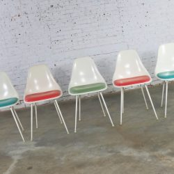 Burke Fiberglass #103 Shell Chairs with Padded Seats Set of 5 Mid Century Modern