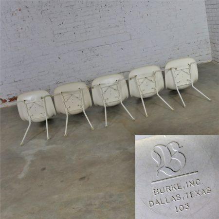 Burke Fiberglass #103 Shell Chairs with Padded Seats Set of 5 Mid Century Modern