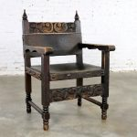 Spanish Hacienda Style Arm Chair Hand Carved Leather Artes De Mexico Internacionales