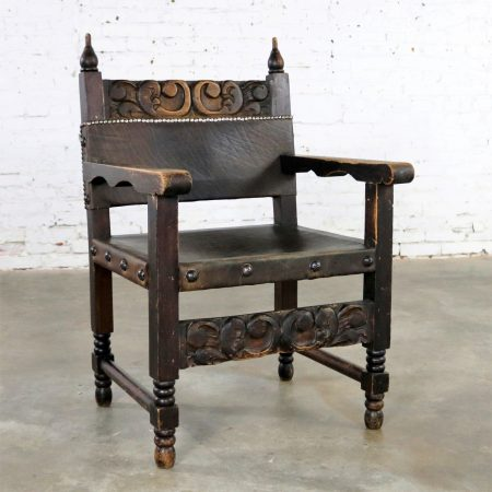Spanish Hacienda Style Arm Chair Hand Carved Leather Artes De Mexico Internacionales