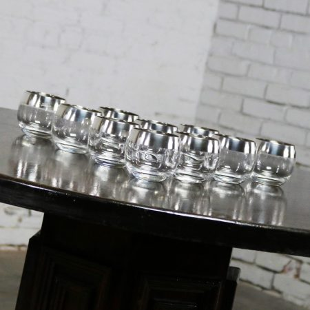 Sterling Silver Rimmed Roly Poly Cocktail Glasses Attributed to Dorothy Thorpe Set 10