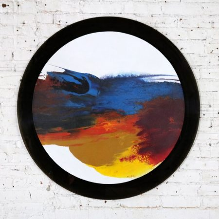 Abstract Round Acrylic Canvas Painting Mounted on Smoke Plexiglass by Ted R. Lownik