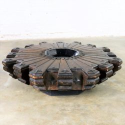 Vintage Spanish Revival Style Rustic Octagon Pinwheel Large Coffee Table Artes De Mexico