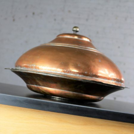Antique Turkish Ottoman Large Lidded Copper Bowl Hand Forged