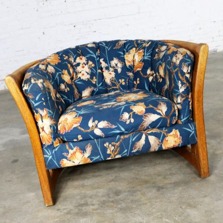 Oak Slatted Back Upholstered Barrel Lounge Chair 1970s