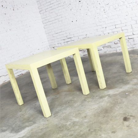 Mid Century Modern Blonde Cerused Oak Parsons End Tables Style Wormley for Dunbar