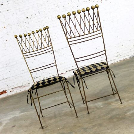 Pair Gilt Iron Chairs Crown or Harlequin Style Ball Finials Art Deco Hollywood Regency