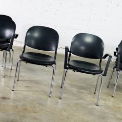 Black Torsion Chairs by Giancarlo Piretti for KI Set of Eight 7 Arm and 1 Side