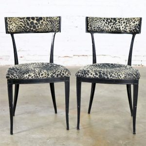 Pair Black Art Deco and Animal Print Side Chairs Cast Aluminum by Crucible Products Corp.
