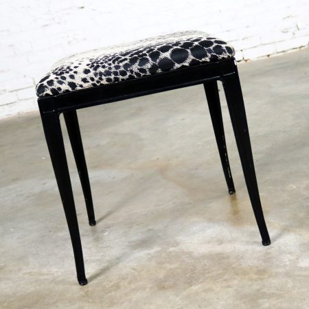 Black Art Deco and Animal Print Bench Ottoman Footstool Cast Aluminum by Crucible