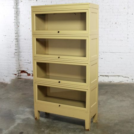 Industrial Barrister Stacking Bookcase Globe Wernicke Distressed Yellow Painted Wood