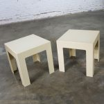 Pair Plastic Parsons Side Tables Antique White Style Kartell or Syroco Mid Century Modern
