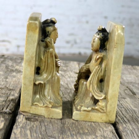 Antique Carved Soapstone Bookends with Chinese Figures and Teapot Detail