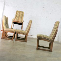 Mid Century Modern Lane Alta Vista Dining Chairs Set of Six Original Stripe Upholstery