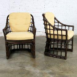 Brown Jordan Windowpane Dark Brown Rattan Lounge Chairs with Straw Color Cushions