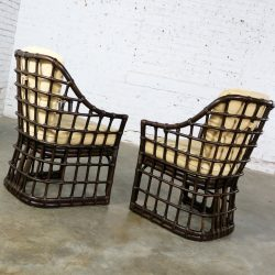 Brown Jordan Windowpane Dark Brown Rattan Lounge Chairs with Straw Color Cushions