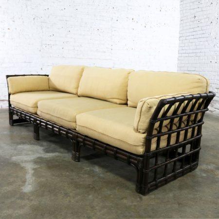 Brown Jordan Windowpane Dark Brown Rattan Sofa with Straw Colored Cushions