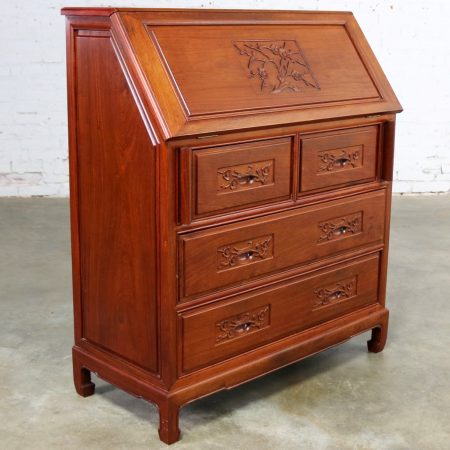 Asian Teak Hand Carved Drop Front Compartmentalized Desk Style of George Zee