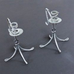 Twisted Tinned Wrought Iron Pair of Vintage Candlesticks