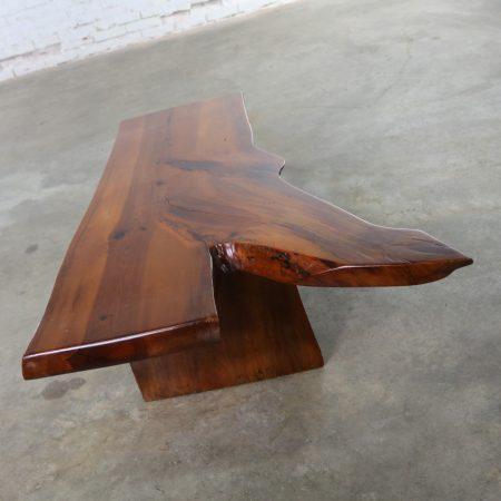 Live Edge Solid Slab Coffee Table or Bench in the Style of George Nakashima