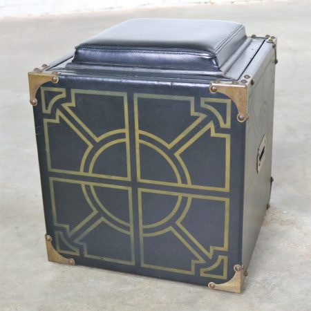 Mid-Century Campaign Style Black Vinyl Upholstered Cube Storage Ottoman Side Table