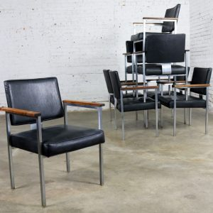 8 MCM Brushed Steel Black Vinyl Dining Conference Chairs with Walnut Arms by InterRoyal