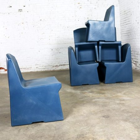 Blue Molded Plastic Side or Slipper Chairs by Norix Set of Eight