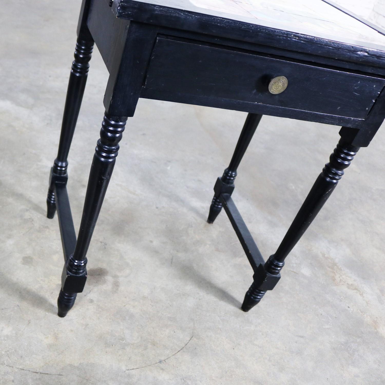 Vintage Black Turned Leg Drawered End Table With Matador And
