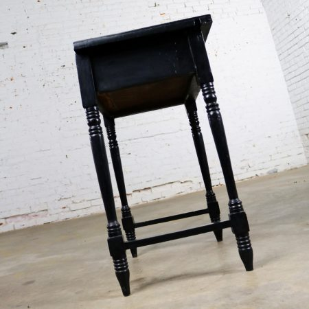 Vintage Black Turned Leg Drawered End Table with Matador and Bull Tile Insert Top