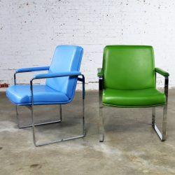 Mid Century Modern Chromcraft Flat Bar Chrome Chairs One Blue One Green Vinyl
