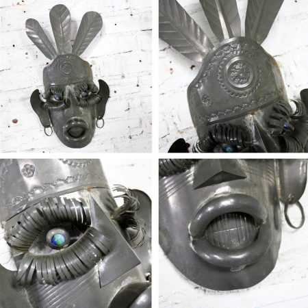 Collection of Six Tin Mexican Folk Art Masks of Varying Size Vintage