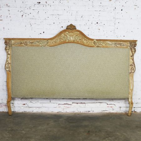 Baroque Whitewashed and Upholstered Headboard King Size with Carved Lion Heads