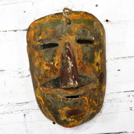 Collection of Five Vintage Mexican Folk Art Hand Carved Wood Masks