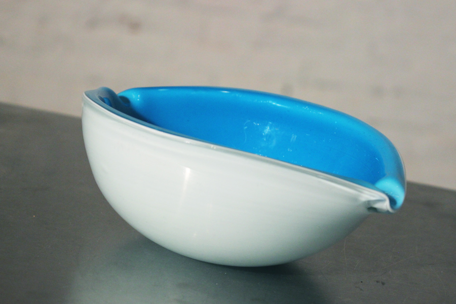 Vintage Mid Century Modern Murano Turquoise Blue Cased Glass Ash Bowl
