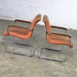 Interiors International Ltd. Cantilevered Chrome and Cognac Leather Chairs by John Geiger