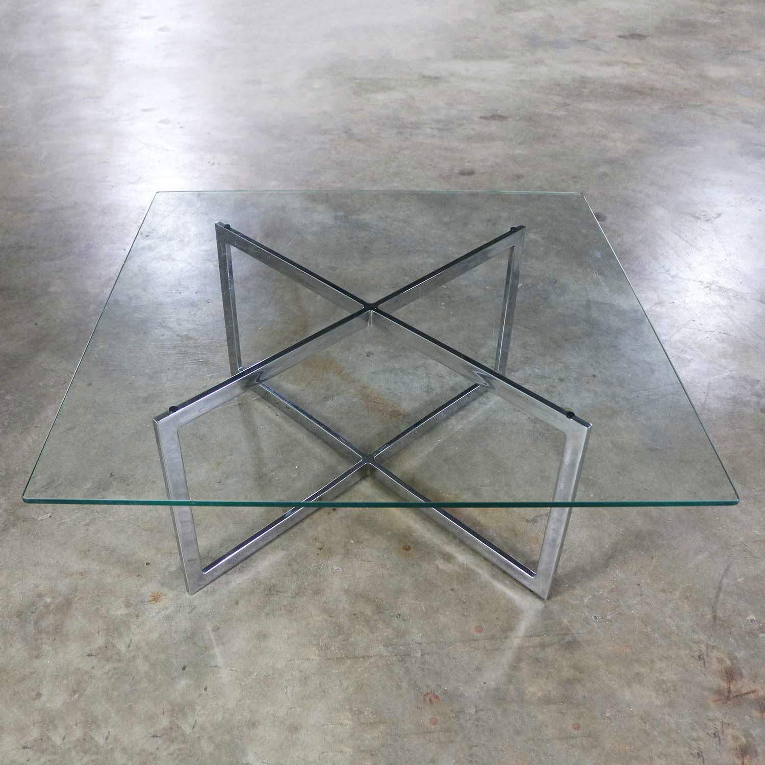 Square Mid Century Modern Chrome X Base Glass Top Coffee Table After Baughman Warehouse 414