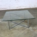 Square Mid Century Modern Chrome X-Base Glass Top Coffee Table After Baughman