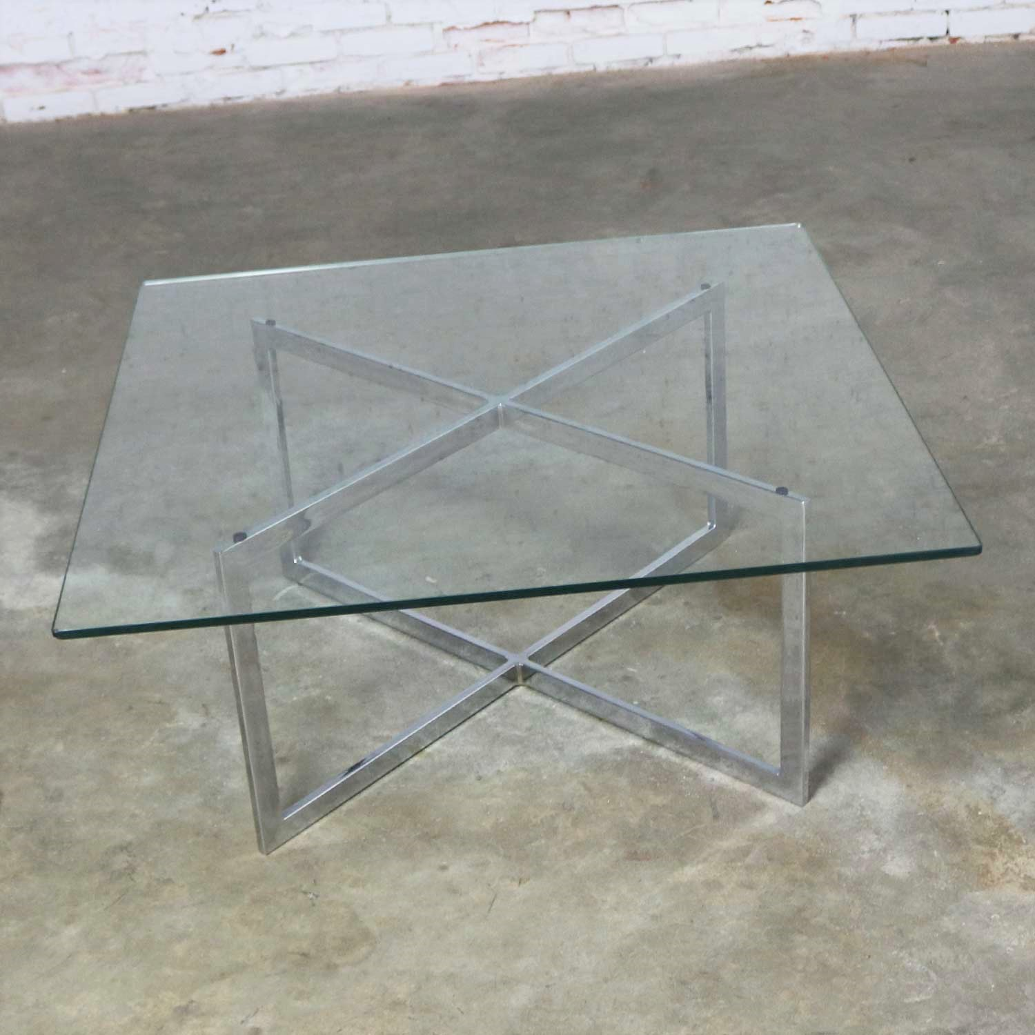 Square Mid Century Modern Chrome X Base Glass Top Coffee