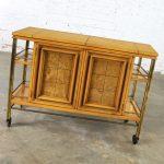 Mid Century Modern Rolling Flip Top Bar Cart Attributed to J. L. Metz Contempora Line