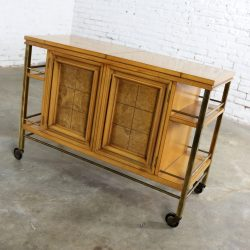 Mid Century Modern Rolling Flip Top Bar Cart Attributed to J. L. Metz Contempora Line