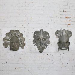 Vintage Large Tin Mexican Folk Art Masks