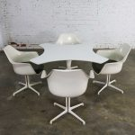 Mid Century Modern Burke Tulip Game Table and 4 Fiberglass Shell Chairs