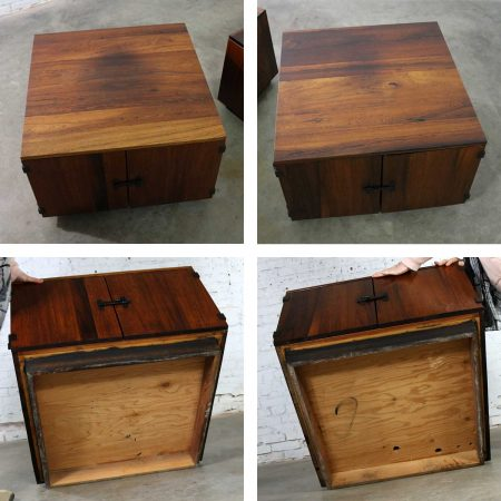 Pair Rosewood Mid Century Square End Table Cabinets