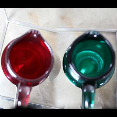 Venini Murano Cocktail Pitchers or Carafes One Green One Red Signed