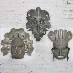 Vintage Large Tin Mexican Folk Art Masks
