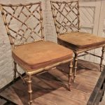 Drexel Gilded Faux Bamboo Pair of Chairs